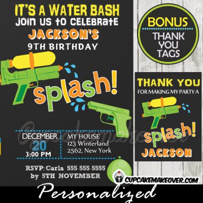 splish splash water gun party invitations
