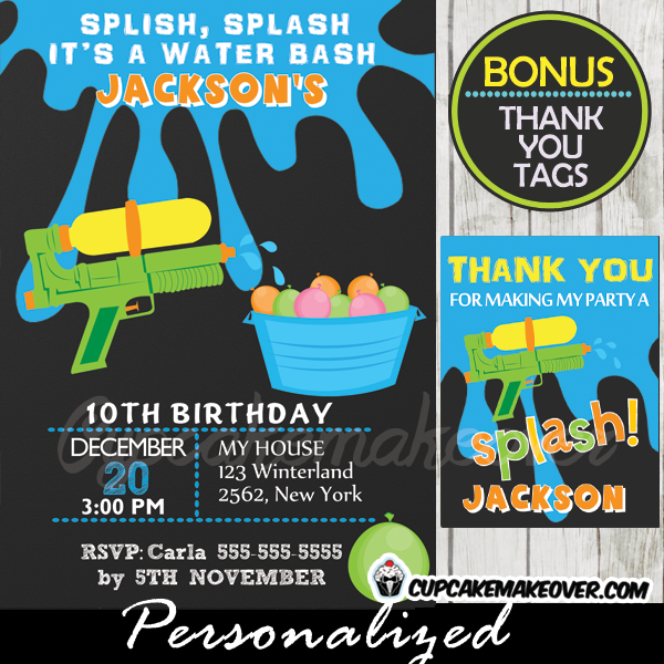 water fight birthday party invitations