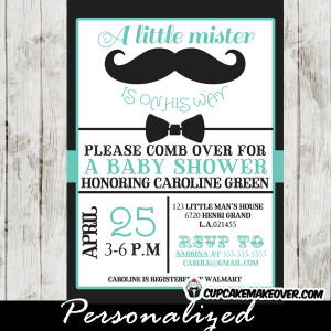 black bow tie baby shower mustache invitations