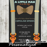 Little Man Bow Tie Baby Shower invite suspenders