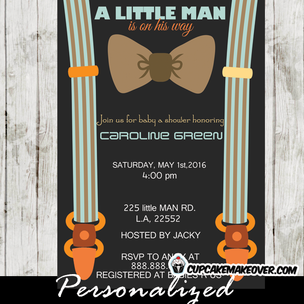 brown little man bow tie baby shower invitations - personalized