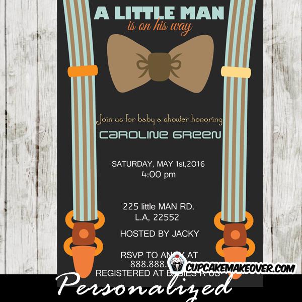 Little Man Bow Tie Baby Shower invite suspenders