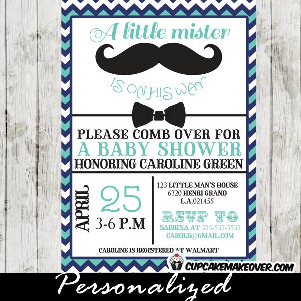 mustache and bow tie baby shower invitations blue chevron