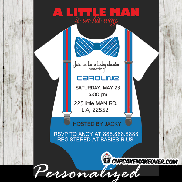 baby shower onesie little man bow tie invitations