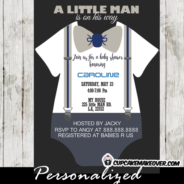 grey bow tie onesie baby shower invitations