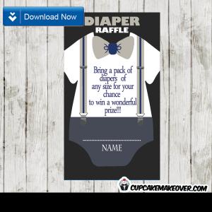 baby shower onesie gray bow tie diaper raffle tickets