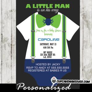 green bow tie onesie invitations baby shower