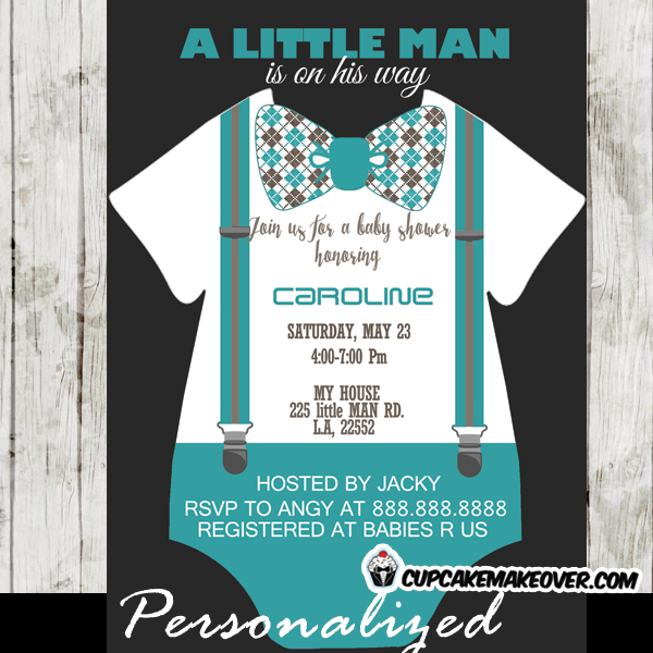teal little man bow tie invitations baby shower