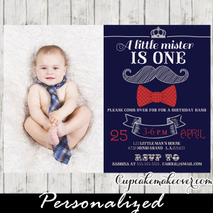 photo little mister mustache bow tie birthday invitations