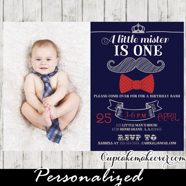 Chalkboard Mustache Bash First Birthday Photo Invitation