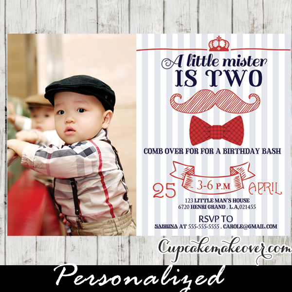 Hipster Boy Red Bow Tie Mustache Birthday Photo Invitation