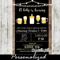 beer bbq a baby is brewing baby shower invitations