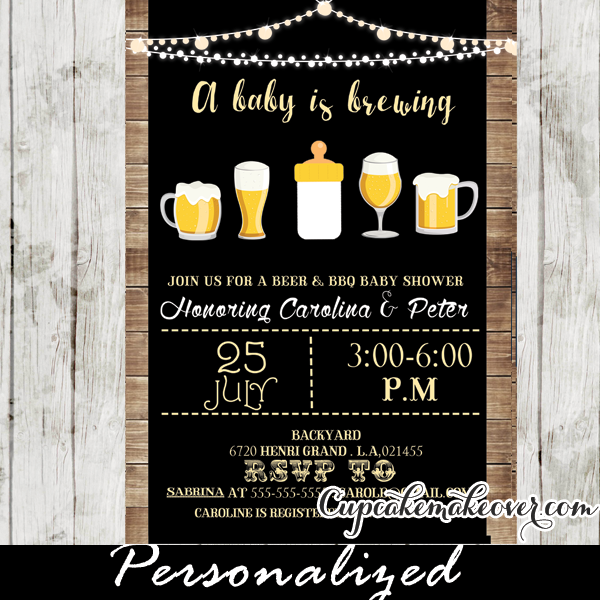 A Baby Is Brewing Invitation, Beer BBQ Shower ...