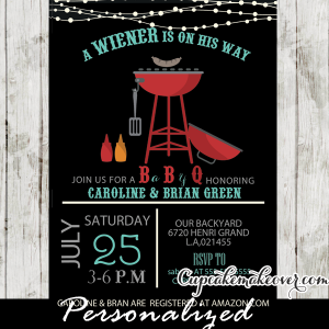 funny wiener on his way bbq baby shower invitations