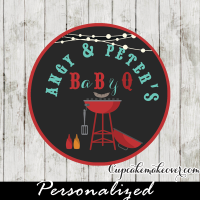 personalized bbq grill cupcake toppers