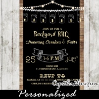 rustic wood vintage mason jars backyard bbq baby shower invitations