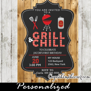 country barn wood bbq birthday invitations