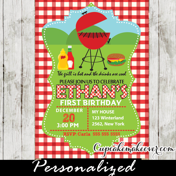 gingham bbq birthday invitation personalized cupcakemakeover