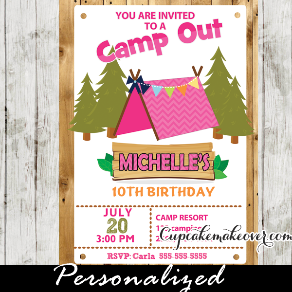 camping party invitation for girls  barn wood - personalized