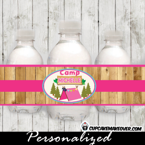 glamping camping water bottle labels girls