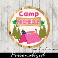 camp out camping cupcake toppers tags