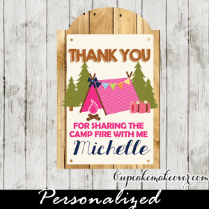 girl camping party favors gift tags