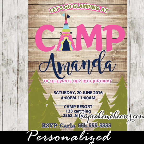 Glam Camping Party Invitation For Girls Rustic Wood