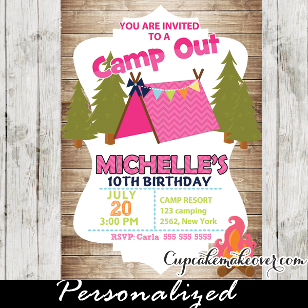 Camping Theme Invitations: Camping Birthday Invitation For Girls, Rustic Wood