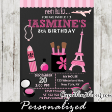 makeup beauty salon birthday invitations little diva paris party invites ideas