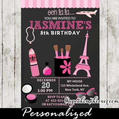 makeup beauty salon birthday invitations little diva paris party invites ideas