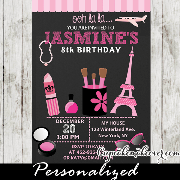 Parisian Little Diva Birthday Party Invitation Personalized