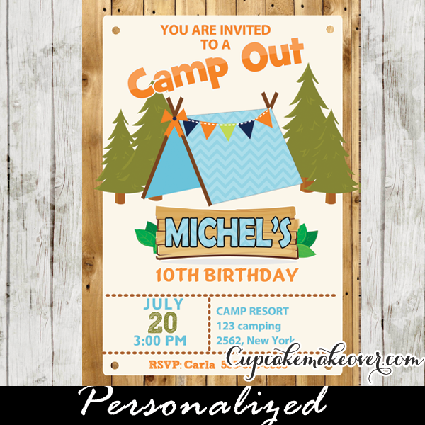 boys camping party invitation barn wood personalized