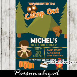 wilderness outdoors kids camping birthday invitation