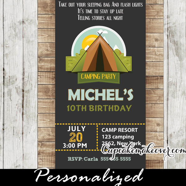 Boys camping birthday invitation rustic wood personalized printable kids camping birthday party invitations filmwisefo