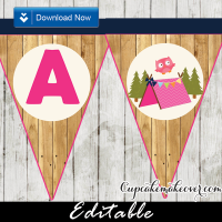 barn wood girl camping happy birthday banner