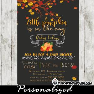fall themed invitations pumpkin baby shower invites