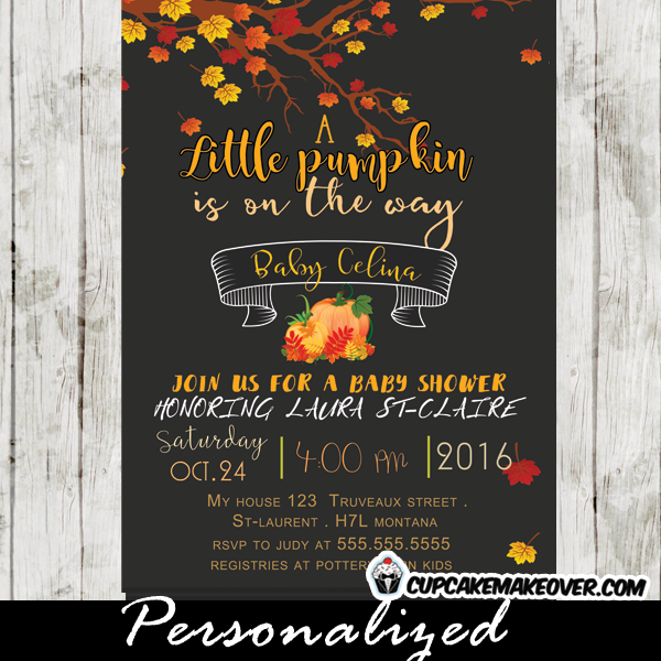 Little Pumpkin Fall Baby Shower Invitation Personalized