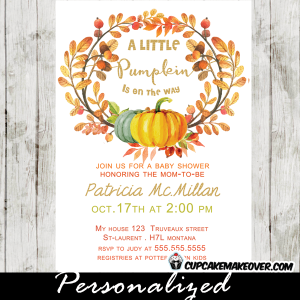 fall wreath pumpkin baby shower invitations