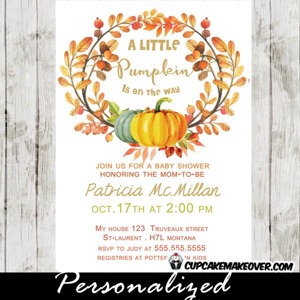 Fall Wreath Pumpkin Baby Shower Invitations Personalized