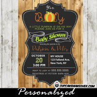 bard wood baby boy pumpkin shower invitation