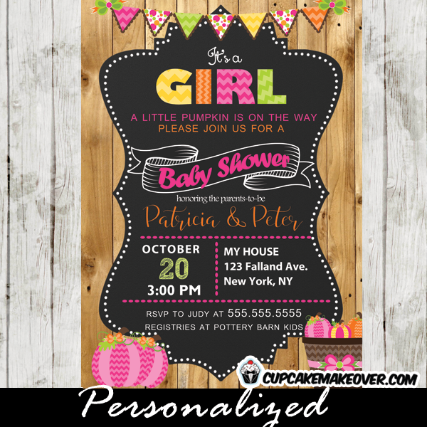 bard wood baby girl pumpkin shower invitation