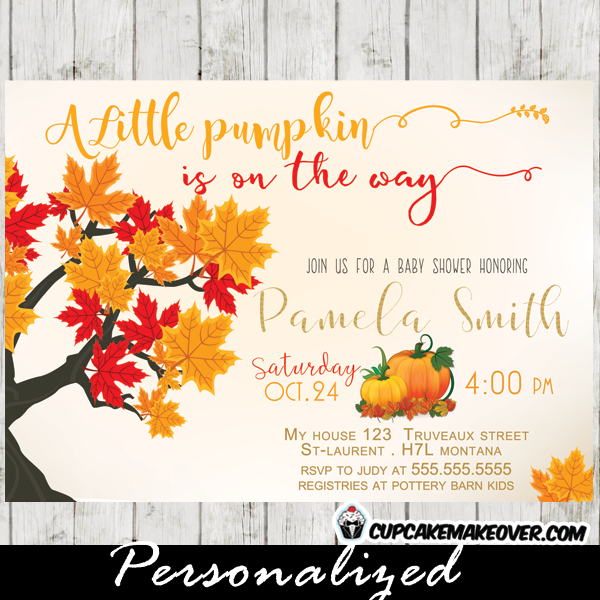 little pumpkin fall themed baby shower invitation
