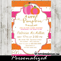 pink little pumpkin baby shower invitation