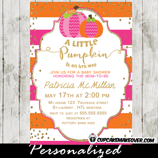 Pink Orange Little Pumpkin Baby Shower Invitation Personalized