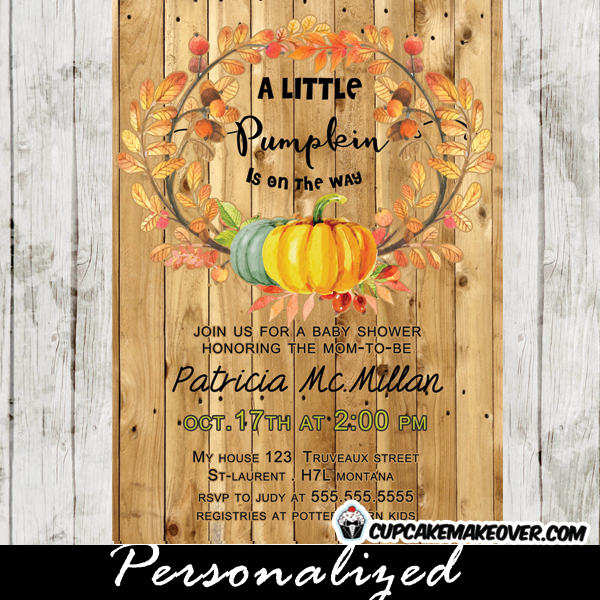 Country Wood Pumpkin Fall Wreath Baby Shower Invitations