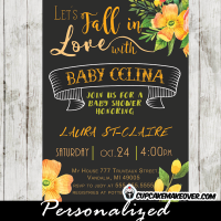 orange floral fall baby shower invitations