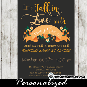floral peach fall baby shower invitations