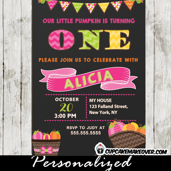 girl pumpkin pink chevron birthday invitations