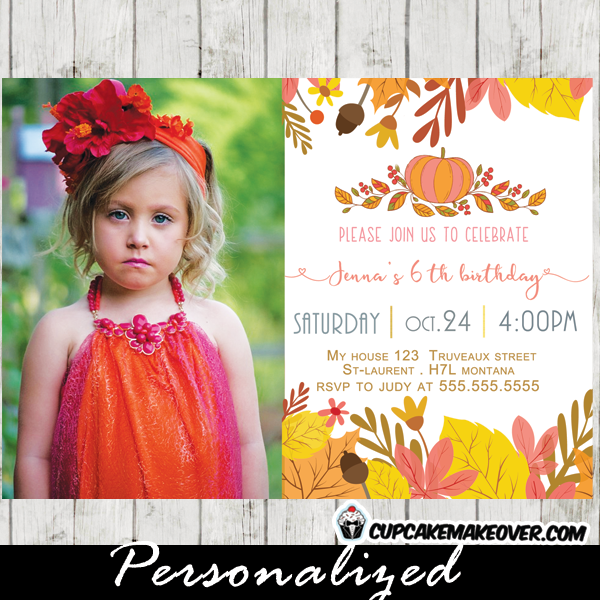 fall theme pumpkin photo invitation birthday