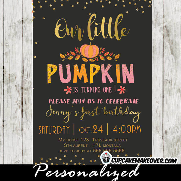 Pumpkin first birthday invitations gold foil personalized gold pink pumpkin first birthday invitations filmwisefo